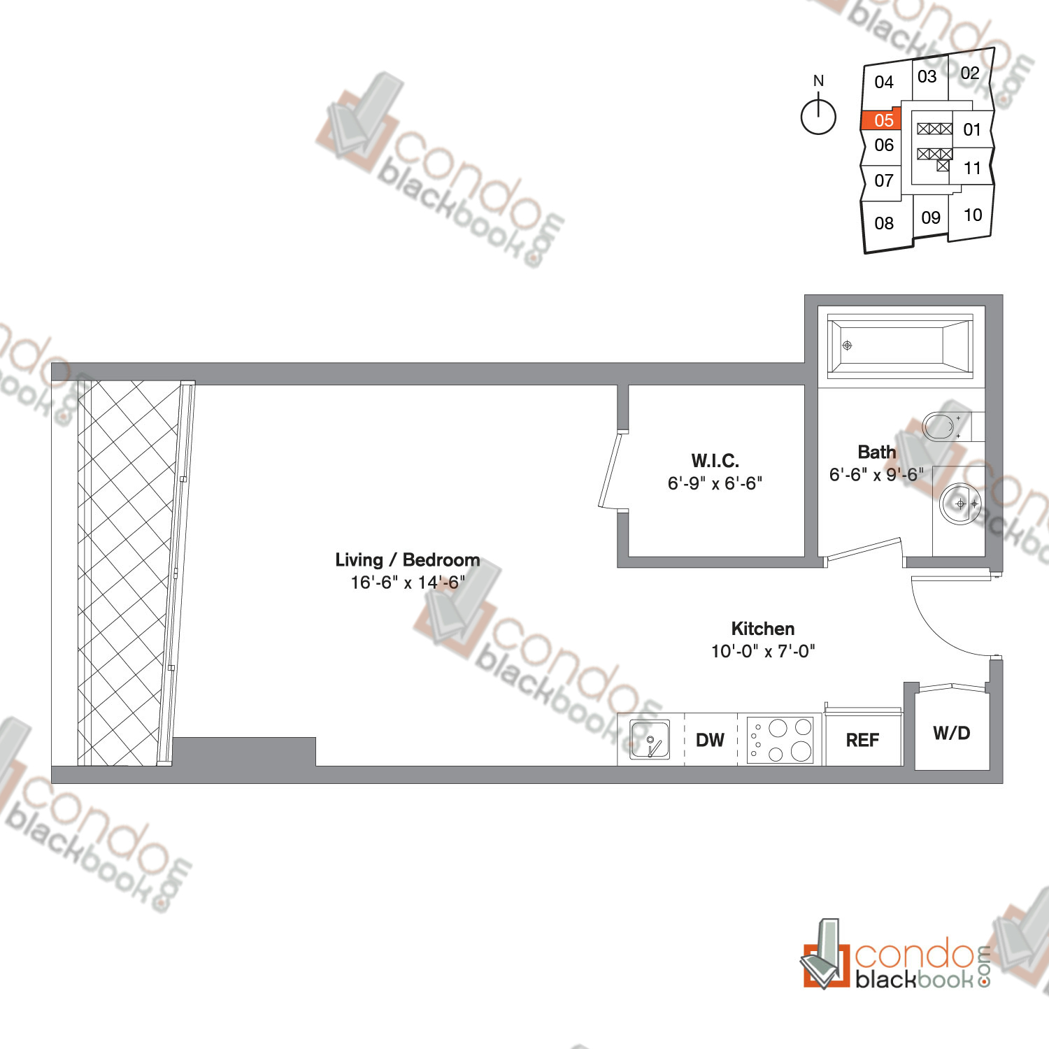 Floor plan for Icon Brickell Viceroy Brickell Miami, model Unit K, line 05, 0/1 bedrooms, 495 sq ft