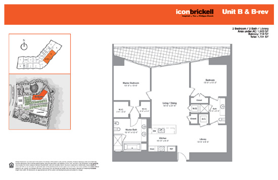 Floor plan for Icon Brickell Brickell Miami, model NorthB_BRev, line Line 03,05, 2/2 +Den bedrooms, 1503 sq ft
