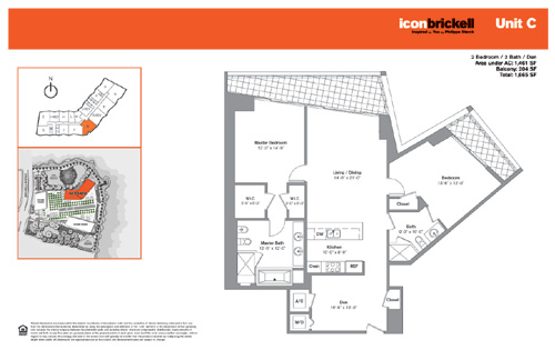 Floor plan for Icon Brickell Brickell Miami, model NorthC, line Line 07, 2/2 +Den bedrooms, 1461 sq ft