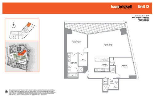 Floor plan for Icon Brickell Brickell Miami, model NorthD, line Line 02, 2/2 bedrooms, 1433 sq ft