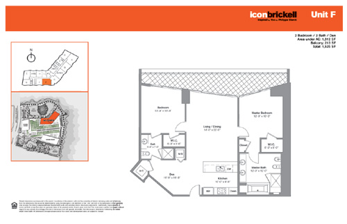 Floor plan for Icon Brickell Brickell Miami, model NorthF, line Line 09, 2/2 +Den bedrooms, 1312 sq ft