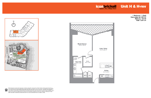 Floor plan for Icon Brickell Brickell Miami, model NorthH_HRev, line Line 12,14, 1/1 bedrooms, 947 sq ft