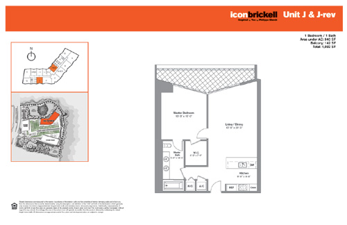 Floor plan for Icon Brickell Brickell Miami, model NorthJ_JRev, line Line 06,11, 1/1 bedrooms, 940 sq ft