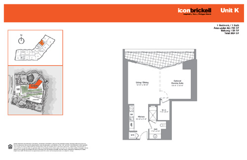 Floor plan for Icon Brickell Brickell Miami, model NorthK, line Line 04, 1/1 bedrooms, 726 sq ft