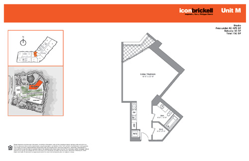 Floor plan for Icon Brickell Brickell Miami, model NorthM, line Line 08, 0/1 bedrooms, 675 sq ft