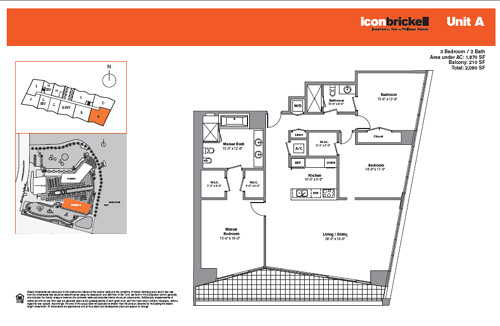 Floor plan for Icon Brickell Brickell Miami, model SouthA, line Line 01, 3/2 bedrooms, 1870 sq ft