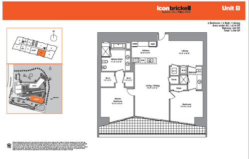 Floor plan for Icon Brickell Brickell Miami, model SouthB, line Line 03, 2/2 bedrooms, 1528 sq ft