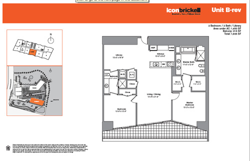 Floor plan for Icon Brickell Brickell Miami, model SouthBRev, line Line 05, 2/2 bedrooms, 1450 sq ft