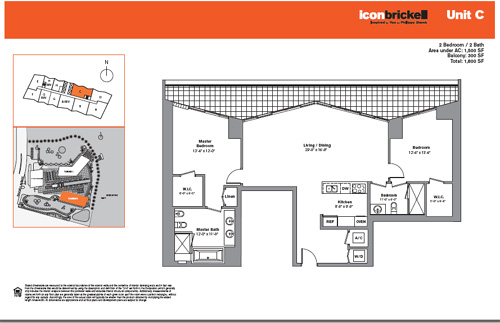 Floor plan for Icon Brickell Brickell Miami, model SouthC, line Line 04, 2/2 bedrooms, 1500 sq ft