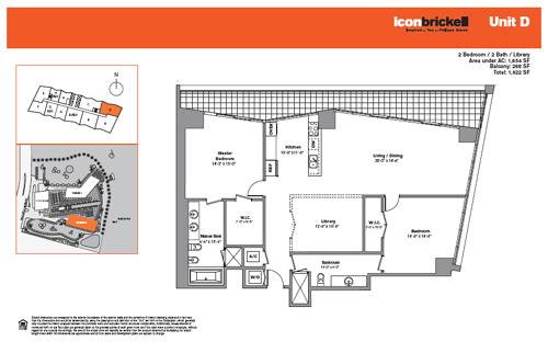 Floor plan for Icon Brickell Brickell Miami, model SouthD, line Line 02, 2/2 bedrooms, 1654 sq ft