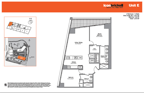 Floor plan for Icon Brickell Brickell Miami, model SouthE, line Line 10, 2/2 bedrooms, 1327 sq ft