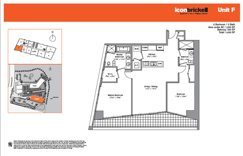 Floor plan for Icon Brickell Brickell Miami, model SouthF, line Line 11, 2/2 bedrooms, 1255 sq ft
