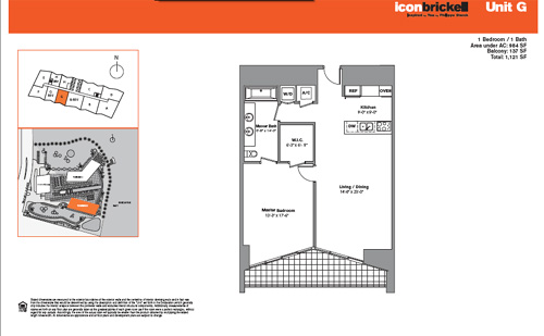 Floor plan for Icon Brickell Brickell Miami, model SouthG, line Line 07, 1/1 bedrooms, 984 sq ft