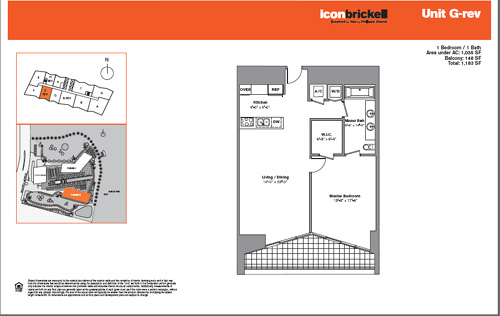 Floor plan for Icon Brickell Brickell Miami, model SouthGRev, line Line 09, 1/1 bedrooms, 1035 sq ft