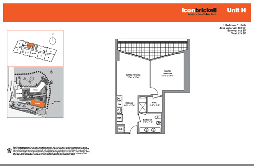 Floor plan for Icon Brickell Brickell Miami, model SouthH, line Line 06, 1/1 bedrooms, 732 sq ft
