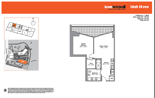 Floor plan for Icon Brickell Brickell Miami, model SouthHRev, line Line 08, 1/1 bedrooms, 732 sq ft