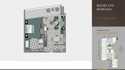 Floor plan for Icon Brickell Brickell Miami, model Viceroy_Resort1