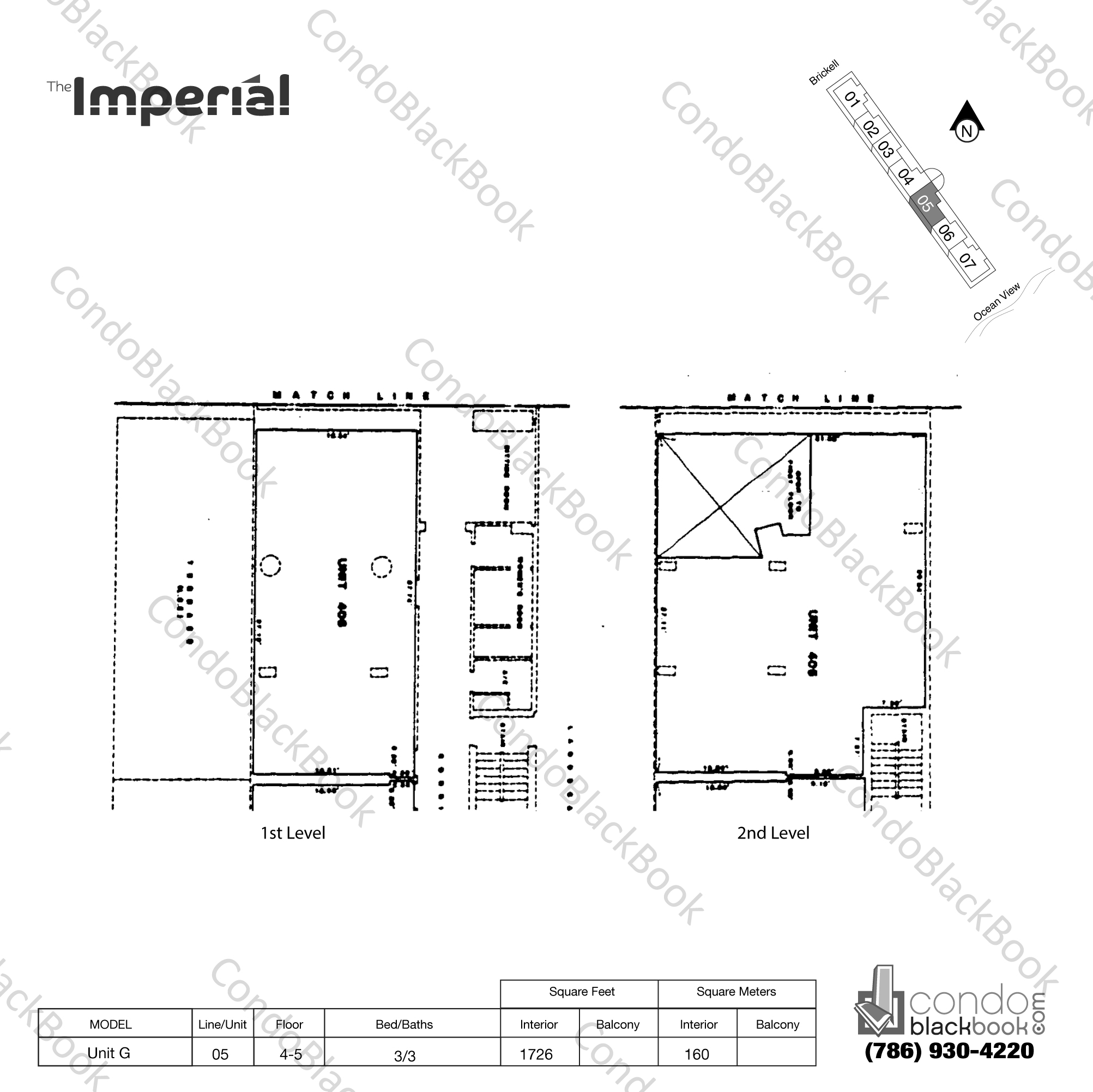 Floor plan for Imperial at Brickell Brickell Miami, model Unit G, line 05, 3/3 bedrooms, 1726 sq ft