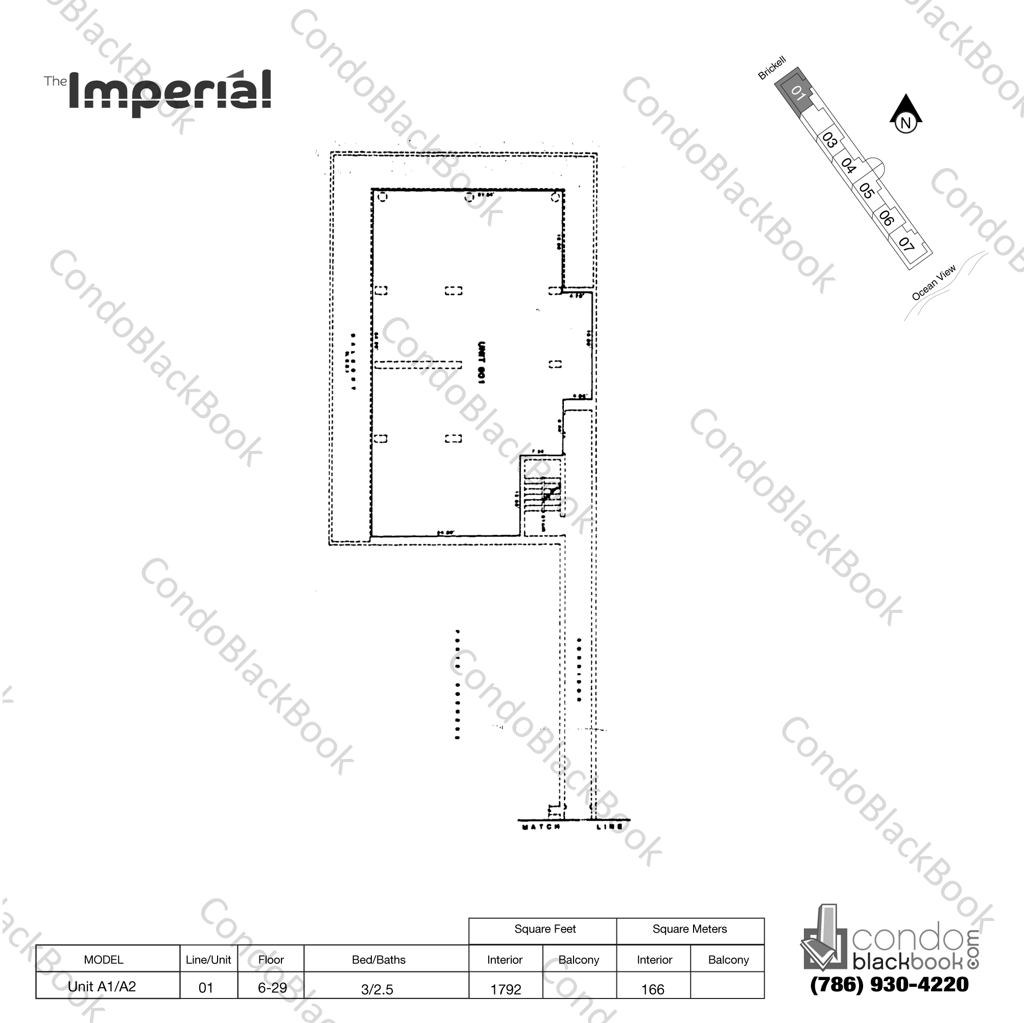 Floor plan for Imperial at Brickell Brickell Miami, model Unit A1/A2, line 01, 3/2.5 bedrooms, 1792 sq ft
