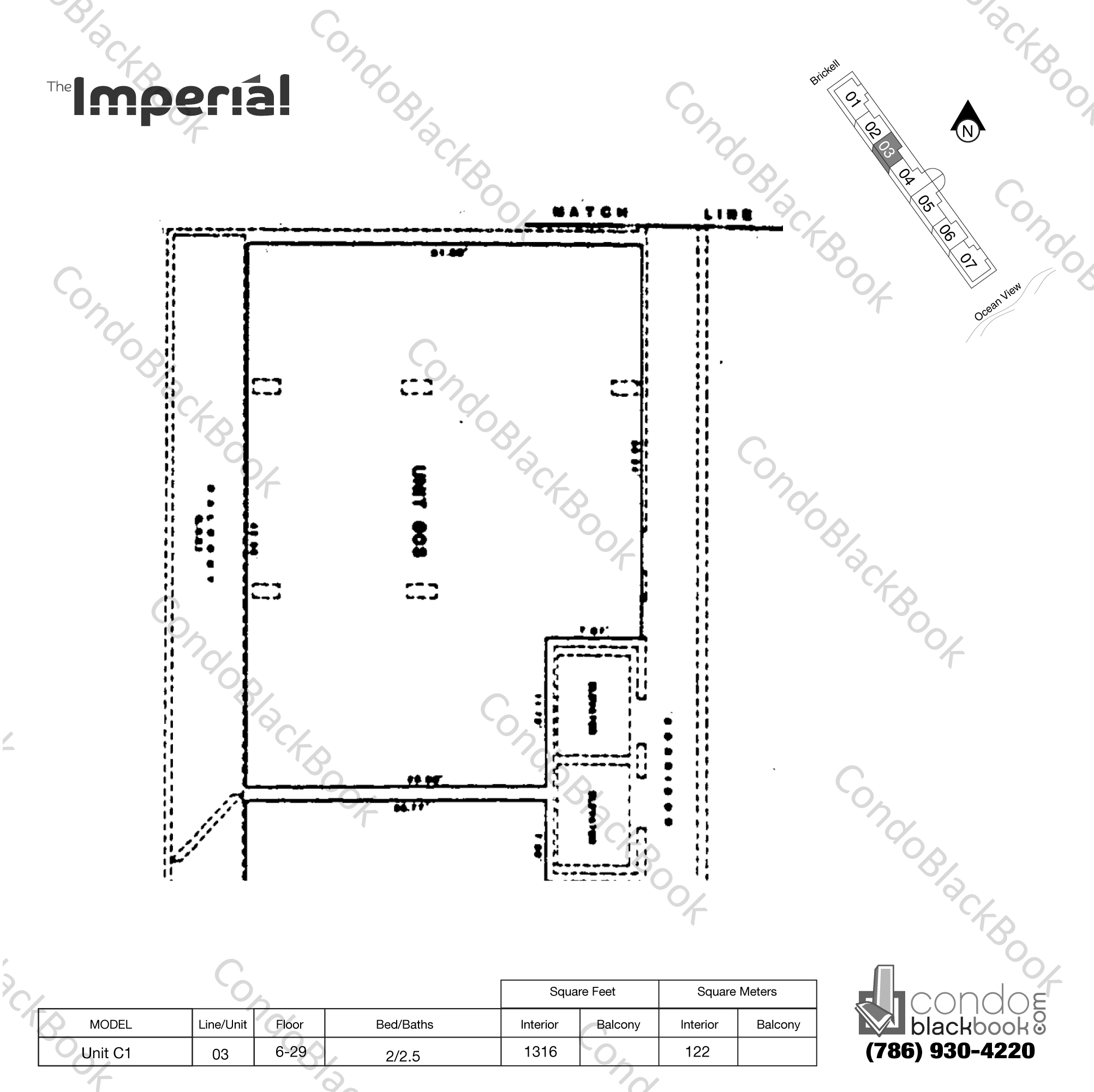 Floor plan for Imperial at Brickell Brickell Miami, model Unit C1, line 03, 2/2.5 bedrooms, 1316 sq ft