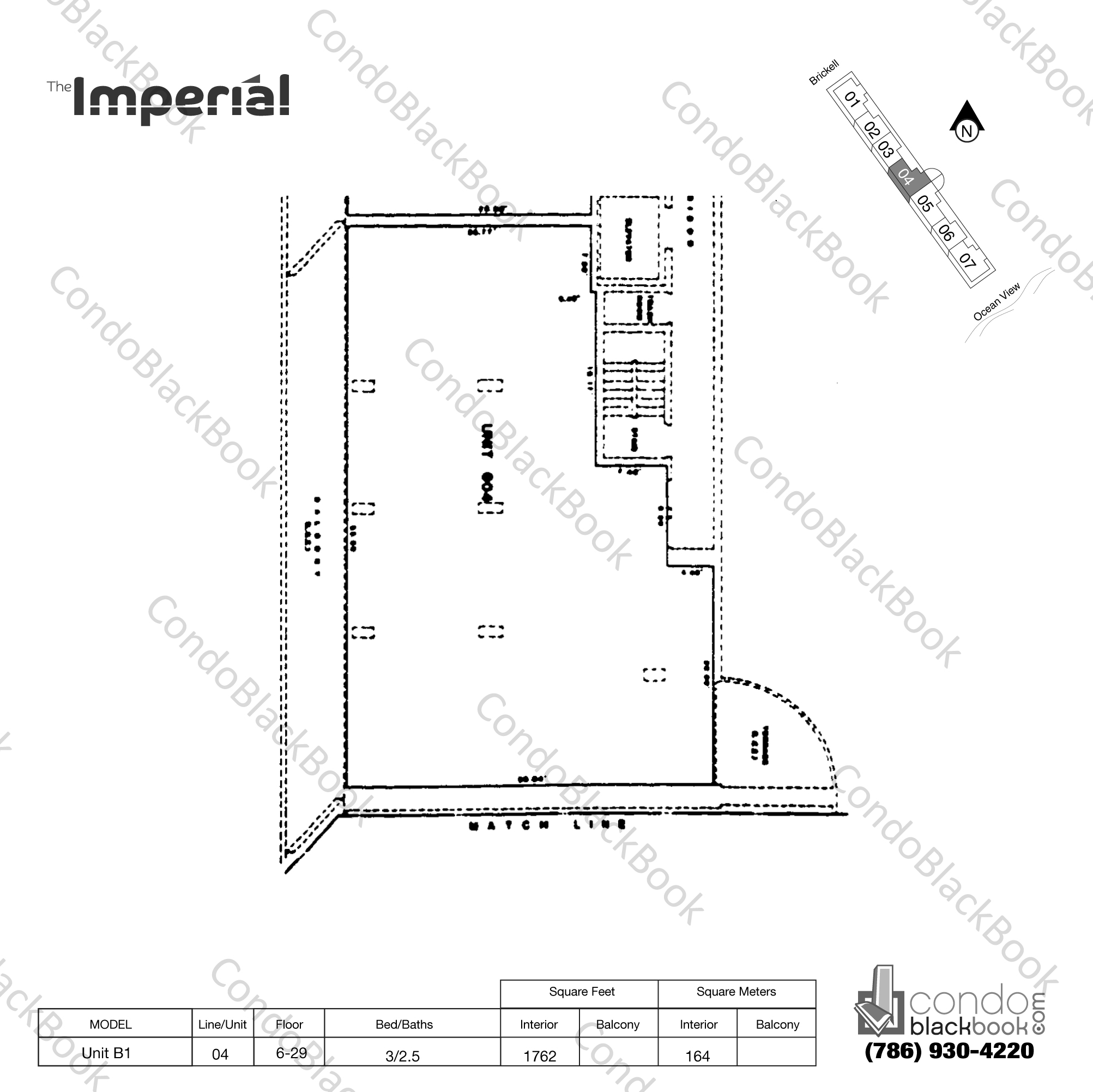 Floor plan for Imperial at Brickell Brickell Miami, model Unit B1, line 04, 3/2.5 bedrooms, 1762 sq ft