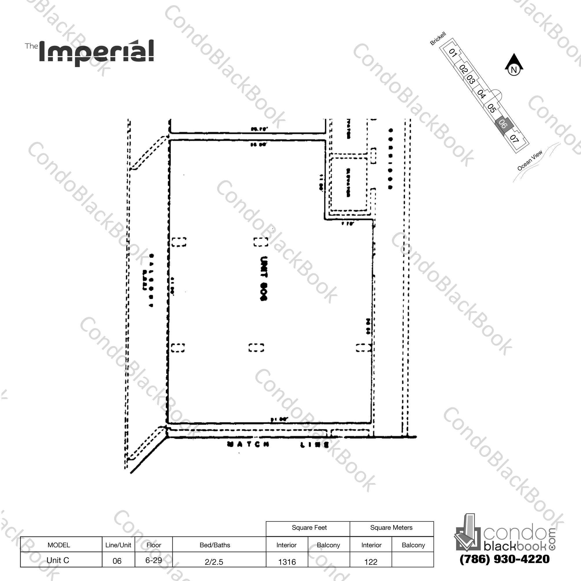 Floor plan for Imperial at Brickell Brickell Miami, model Unit C, line 06, 2/2.5 bedrooms, 1316 sq ft