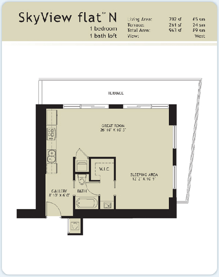 Floor plan for Infinity at Brickell Brickell Miami, model Flat-N, 1/1 West View bedrooms, 702 sq ft