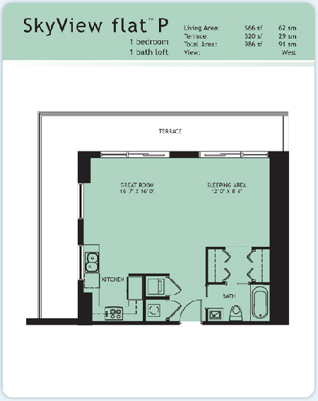 Floor plan for Infinity at Brickell Brickell Miami, model Flat-P, 1/1 West View bedrooms, 666 sq ft
