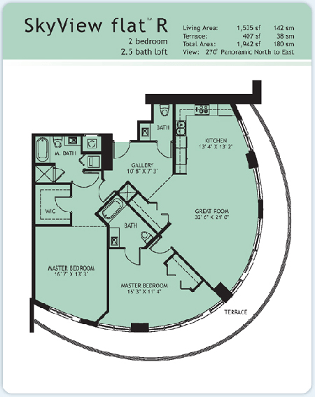 Floor plan for Infinity at Brickell Brickell Miami, model Flat-R, 2/2.5 North to East View bedrooms, 1535 sq ft