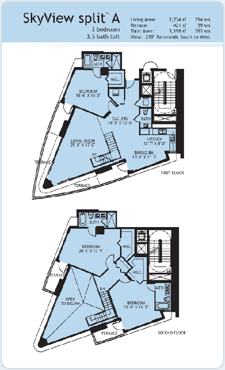 Floor plan for Infinity at Brickell Brickell Miami, model Split-A, 3/3.5 South to West View bedrooms, 2734 sq ft