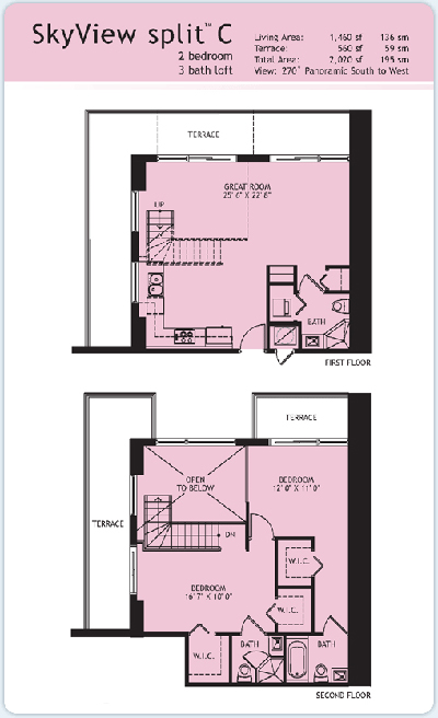 Floor plan for Infinity at Brickell Brickell Miami, model Split-C, 2/3 South to West View bedrooms, 1460 sq ft