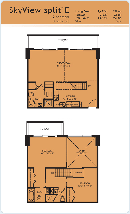 Floor plan for Infinity at Brickell Brickell Miami, model Split-E, 2/3 West View bedrooms, 1417 sq ft