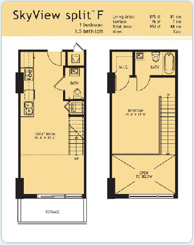 Floor plan for Infinity at Brickell Brickell Miami, model Split-F, 1/1.5 East View bedrooms, 875 sq ft