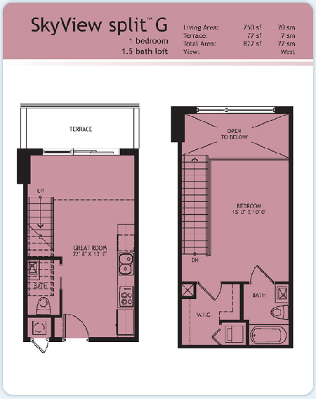 Floor plan for Infinity at Brickell Brickell Miami, model Split-G, 1/1.5 West View bedrooms, 750 sq ft