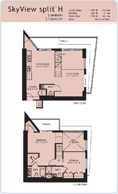 Floor plan for Infinity at Brickell Brickell Miami, model Split-H, 2/2.5 North to West View bedrooms, 1437 sq ft