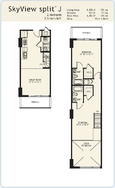 Floor plan for Infinity at Brickell Brickell Miami, model Split-J, 2/2.5 East to West View bedrooms, 1298 sq ft