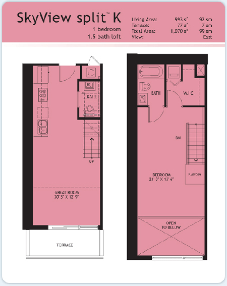 Floor plan for Infinity at Brickell Brickell Miami, model Split-K, 1/1.5 East View bedrooms, 993 sq ft