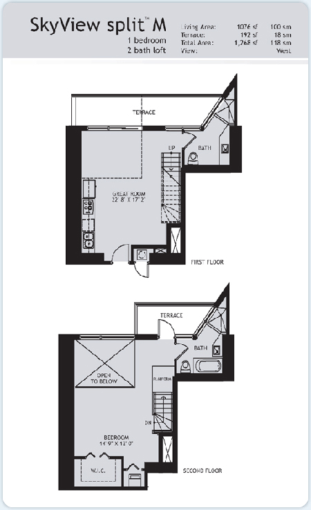 Floor plan for Infinity at Brickell Brickell Miami, model Split-M, 1/2 West View bedrooms, 1076 sq ft