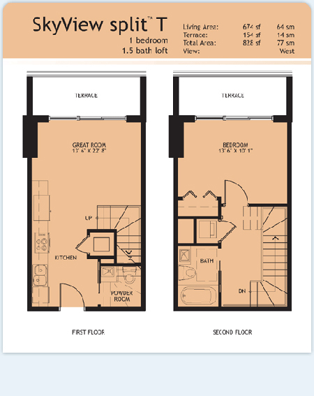 Floor plan for Infinity at Brickell Brickell Miami, model Split-T, 1/1.5 West View bedrooms, 674 sq ft