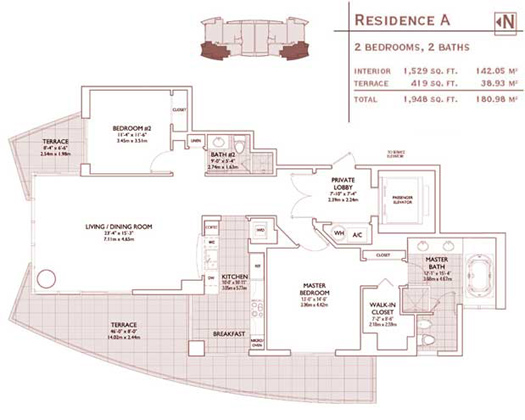 Floor plan for Jade Brickell Miami, model A, line 02,08, 2/2 bedrooms, 1529 sq ft