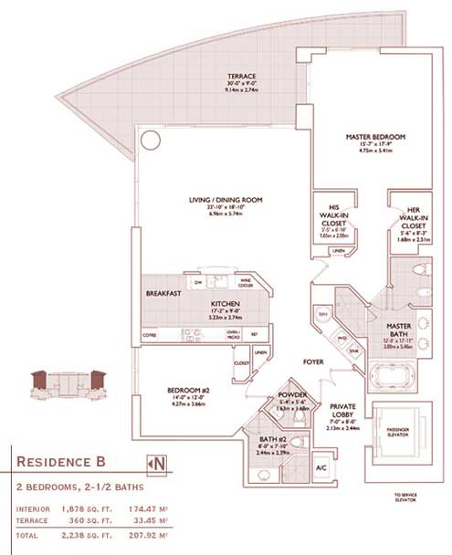 Floor plan for Jade Brickell Miami, model B, line 01,11, 2/2.5 bedrooms, 1878 sq ft