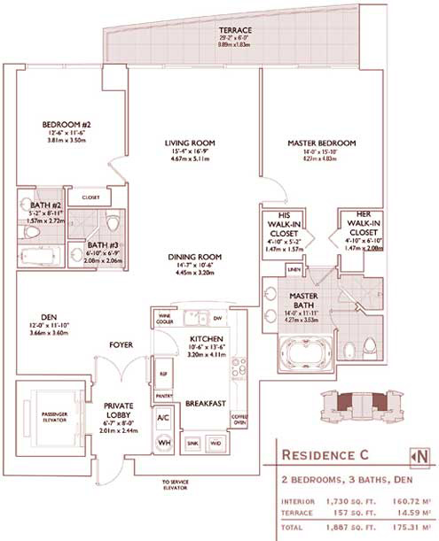 Floor plan for Jade Brickell Miami, model C, line 03,09, 2/3 +Den bedrooms, 1730 sq ft