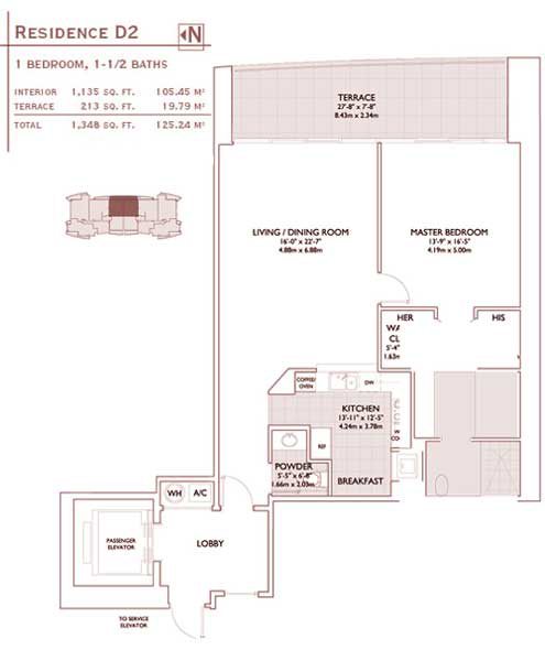 Floor plan for Jade Brickell Miami, model D2, line 05,07, 1/1.5 bedrooms, 1135 sq ft
