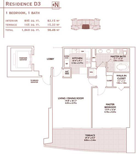 Floor plan for Jade Brickell Miami, model D3, line 04,06, 1/1 bedrooms, 895 sq ft