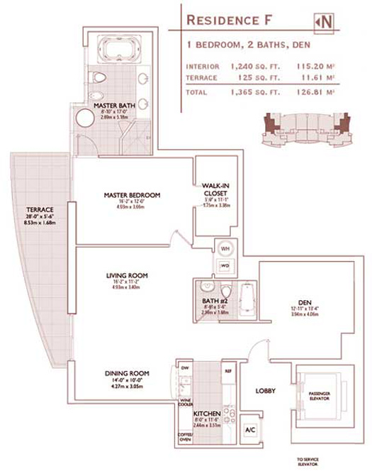 Floor plan for Jade Brickell Miami, model F, line 01,11, 1/2 =Den bedrooms, 1240 sq ft