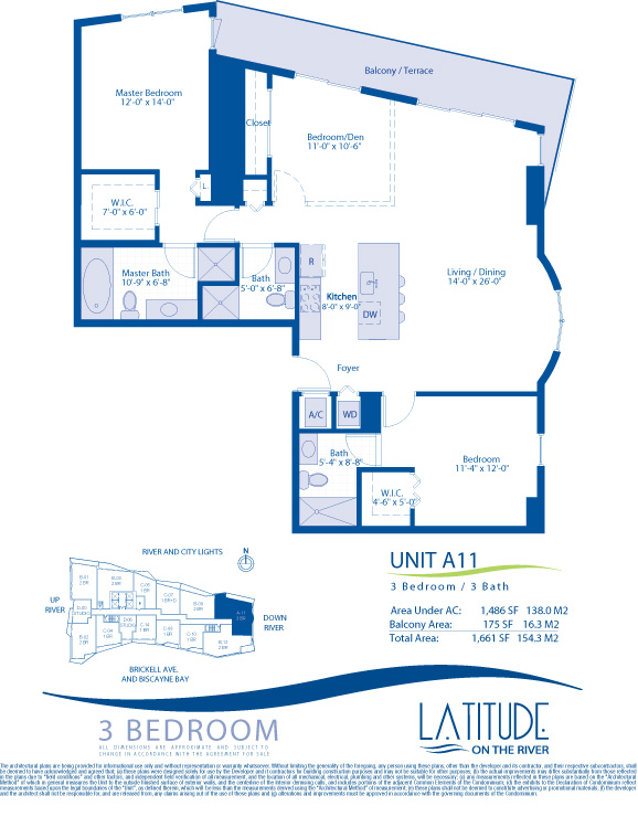 Floor plan for Latitude Brickell Miami, model A11, line 11, 3/3 bedrooms, 1486 sq ft