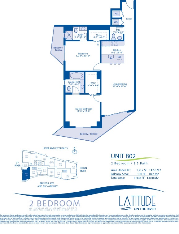 Floor plan for Latitude Brickell Miami, model B02, line 02, 2/2.5 bedrooms, 1212 sq ft
