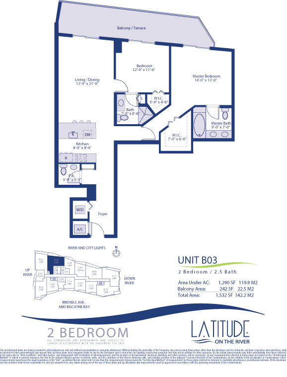 Floor plan for Latitude Brickell Miami, model B03, line 03, 2/2.5 bedrooms, 1290 sq ft