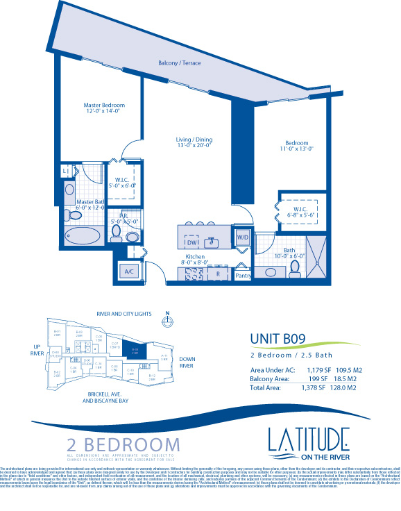 Floor plan for Latitude Brickell Miami, model B09, line 09, 2/2.5 bedrooms, 1179 sq ft