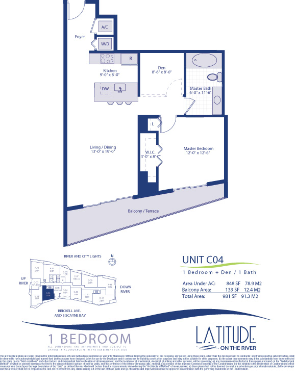 Floor plan for Latitude Brickell Miami, model C04, line 04, 1/1+Den bedrooms, 848 sq ft